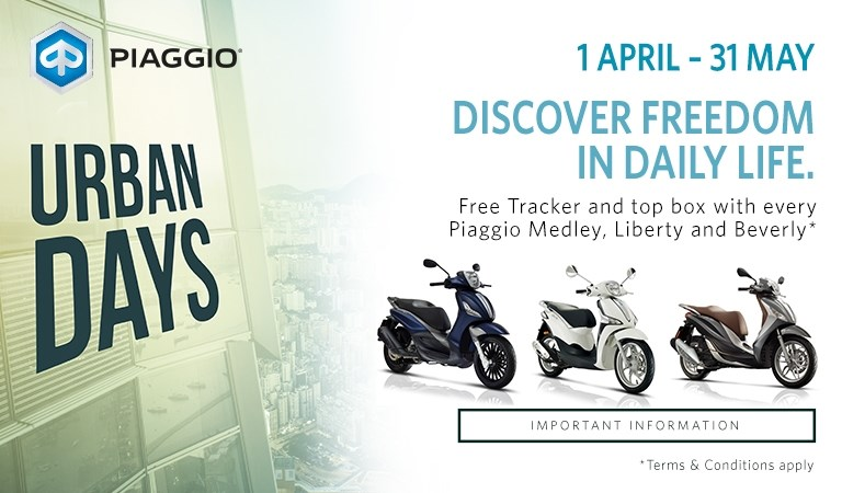 Piaggio Urban Days Free Tracker Offer